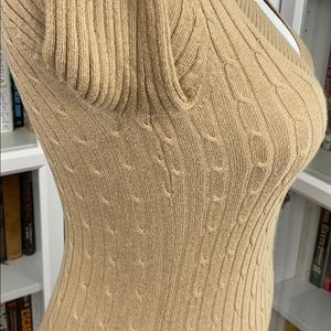 Express Sweaters - Express Camel V-Neck Cable Knit Sweater